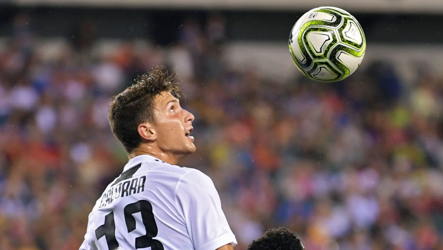PHILADELPHIA, PA - JULY 25: Mattia Caldara of Juventus heads the ball during the game against the Bayern Munich during the International Champions Cup 2018 match between Juventus and FC Bayern Munich at Lincoln Financial Field on July 25, 2018 in Philadelphia, Pennsylvania. (Photo by Drew Hallowell/Getty Images)