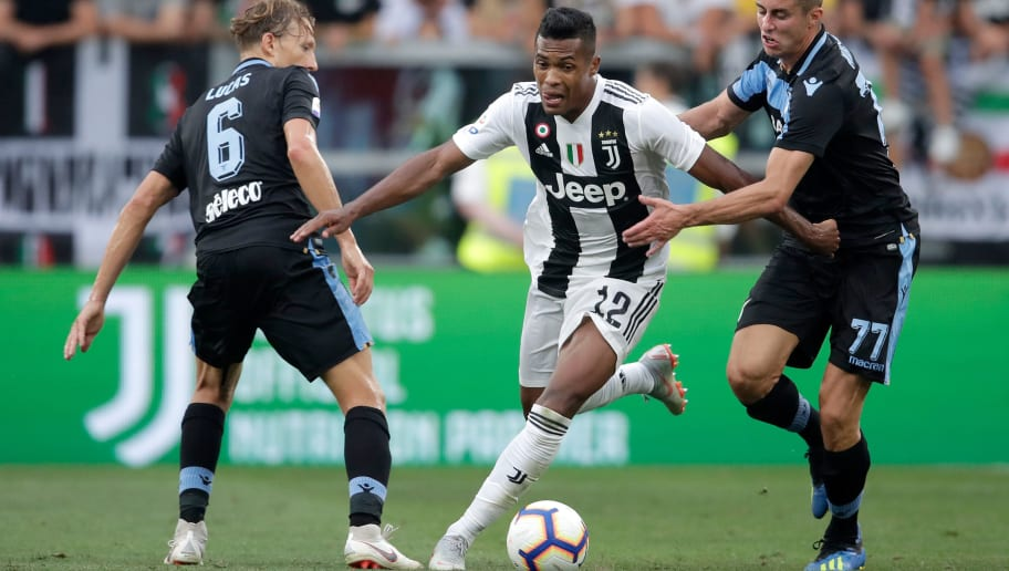 TURIN, ITALY - AUGUST 25: (L-R) Lucas Leiva of Lazio Roma, Alex Sandro of Juventus, Adam Marusic of Lazio Roma  during the Italian Serie A   match between Juventus v Lazio at the Allianz Stadium on August 25, 2018 in Turin Italy (Photo by Laurens Lindhout/Soccrates/Getty Images)