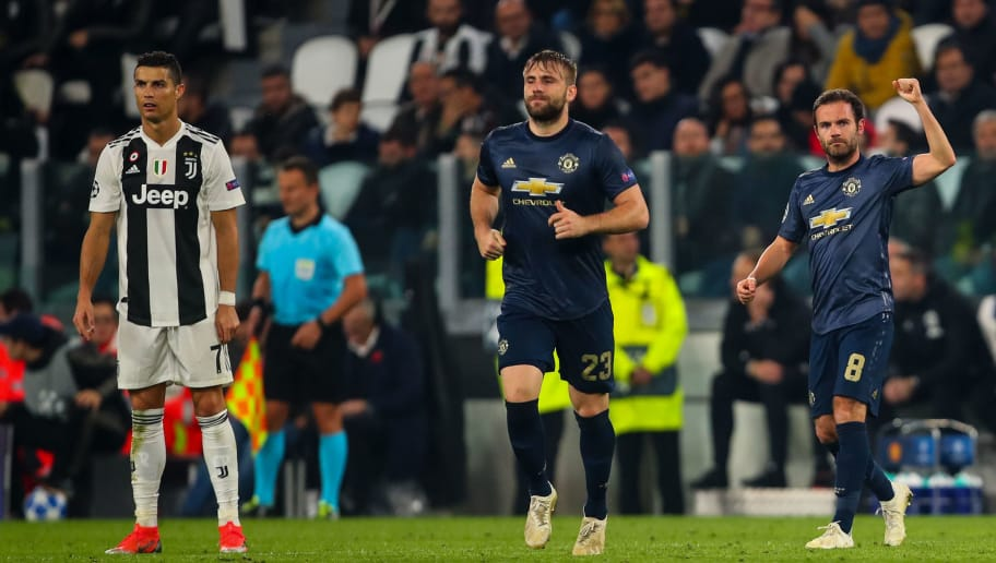 TURIN, ITALY - NOVEMBER 07: Juan Mata of Manchester United celebrates after scoring a goal to make it 1-1 during the Group H match of the UEFA Champions League between Juventus and Manchester United at  on November 7, 2018 in Turin, Italy. (Photo by Robbie Jay Barratt - AMA/Getty Images)