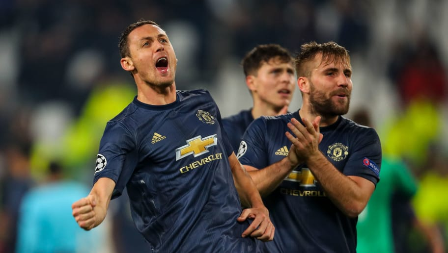 TURIN, ITALY - NOVEMBER 07: Nemanja Matic of Manchester United celebrates at full time during the Group H match of the UEFA Champions League between Juventus and Manchester United at  on November 7, 2018 in Turin, Italy. (Photo by Robbie Jay Barratt - AMA/Getty Images)