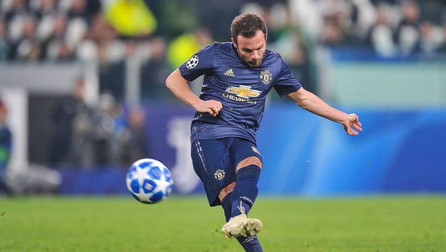 TURIN, ITALY - NOVEMBER 07: Juan Mata of Manchester United scores a goal during the Group H match of the UEFA Champions League between Juventus and Manchester United at  on November 7, 2018 in Turin, Italy. (Photo by Norbert Barczyk/PressFocus/MB Media/Getty Images)