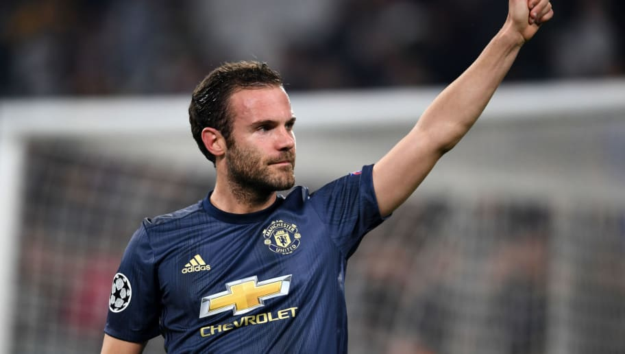 TURIN, ITALY - NOVEMBER 07: Juan Mata of Manchester United celebrates 2-1 victory after the Group H match of the UEFA Champions League between Juventus and Manchester United at  on November 07, 2018 in Turin, Italy. (Photo by Etsuo Hara/Getty Images)