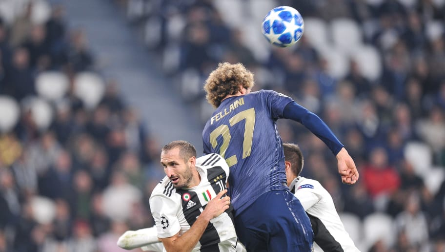 TURIN, ITALY - NOVEMBER 07: Leonardo Bonucci of Juventus FC competes with Marouane Fellaini of Manchester United during the Group H match of the UEFA Champions League between Juventus and Manchester United at Juventus Stadium on November 7, 2018 in Turin, Italy. (Photo by Norbert Barczyk/PressFocus/MB Media/Getty Images)