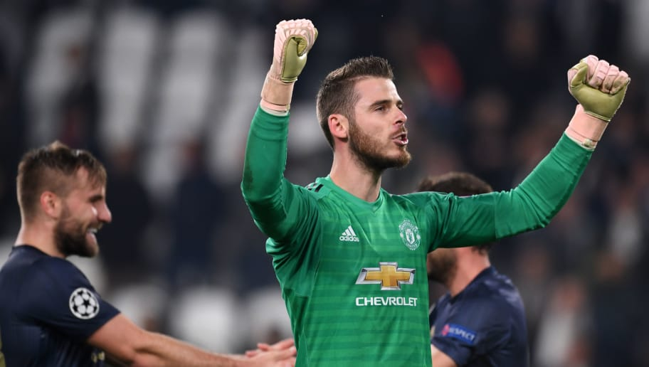 TURIN, ITALY - NOVEMBER 07: David de Gea of Manchester United celebrates 2-1 victory after the Group H match of the UEFA Champions League between Juventus and Manchester United at  on November 07, 2018 in Turin, Italy. (Photo by Etsuo Hara/Getty Images)