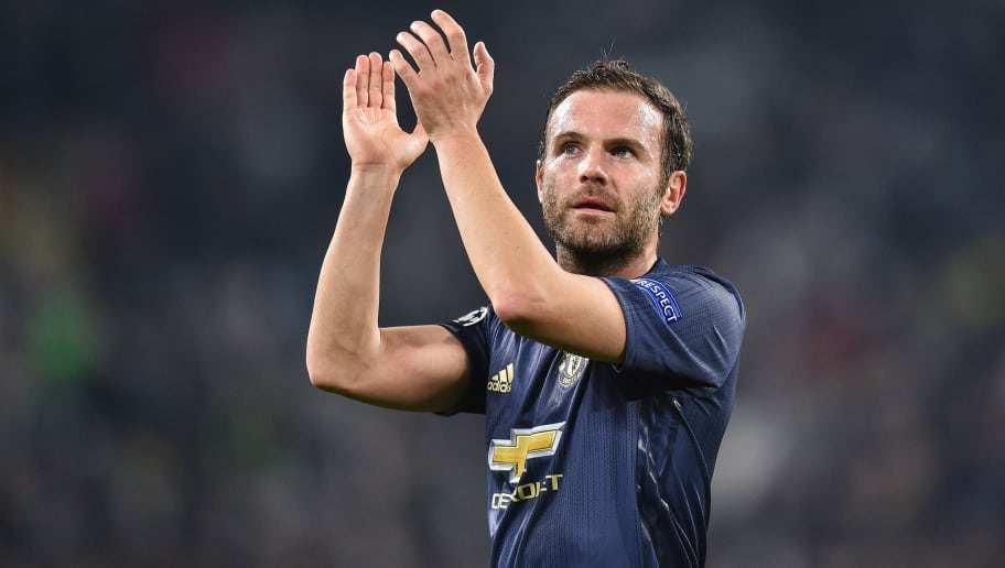 TURIN, ITALY - NOVEMBER 07: Juan Mata of Manchester United celebrates victory during the Group H match of the UEFA Champions League between Juventus and Manchester United at Juventus Stadium on November 7, 2018 in Turin, Italy. (Photo by Lukasz Laskowski/PressFocus/MB Media/Getty Images)