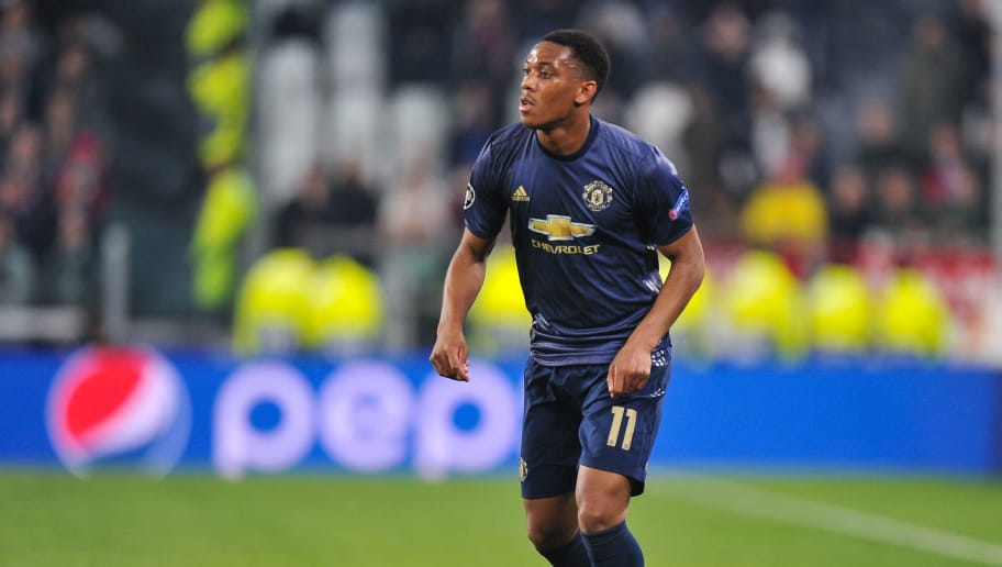 TURIN, ITALY - NOVEMBER 07: Anthony Martial of Manchester United in action during the Group H match of the UEFA Champions League between Juventus and Manchester United at  Juventus Stadium on November 7, 2018 in Turin, Italy. (Photo by Norbert Barczyk/PressFocus/MB Media/Getty Images)