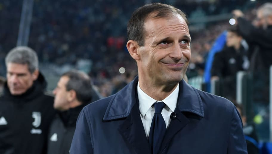 TURIN,ITALY - NOVEMBER 7: Juventus head coach Massimiliano Allegri looks on prior to the Group H match of the UEFA Champions League between Juventus and Manchester United at Juventus Stadium on November 07, 2018 in Turin, Italy. (Photo by Etsuo Hara/Getty Images)