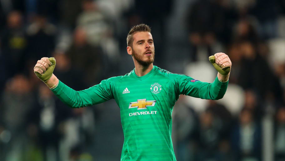 TURIN, ITALY - NOVEMBER 07: David de Gea of Manchester United celebrates during the Group H match of the UEFA Champions League between Juventus and Manchester United at  on November 7, 2018 in Turin, Italy. (Photo by Robbie Jay Barratt - AMA/Getty Images)