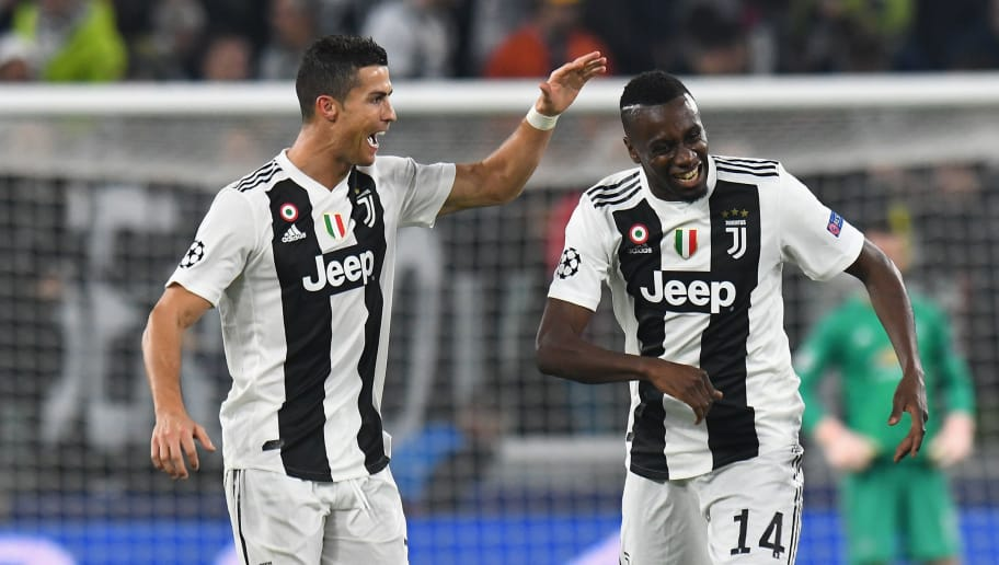 TURIN, ITALY - NOVEMBER 07:  Cristiano Ronaldo of Juventus celebrates after scoring the opening goal with team mate Blaise Matuidi of Juventus during the Group H match of the UEFA Champions League between Juventus and Manchester United at  on November 7, 2018 in Turin, Italy.  (Photo by Alessandro Sabattini/Getty Images )