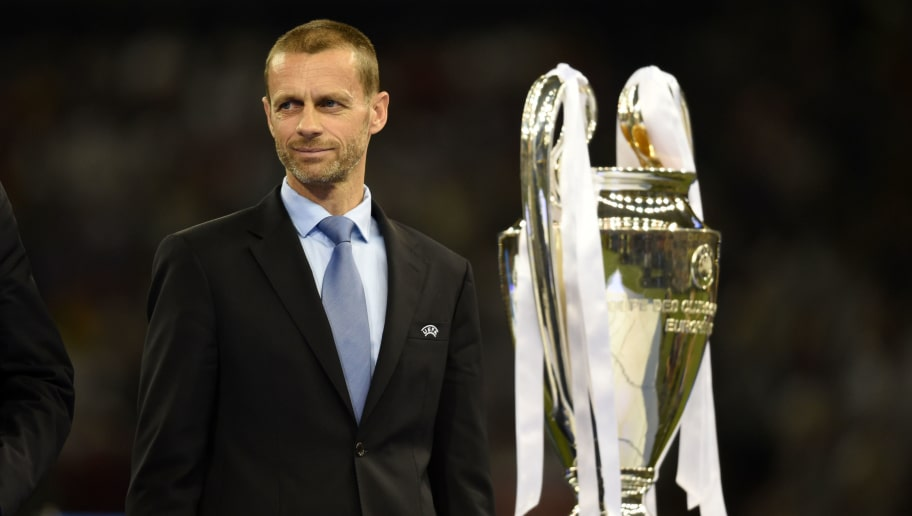 CARDIFF, WALES - JUNE 03: UEFA President Aleksander Ceferin is seen with the trophy after the UEFA Champions League final match between Juventus and Real Madrid at National Stadium of Wales on June 3, 2017 in Cardiff, Wales. (Photo by Etsuo Hara/Getty Images)