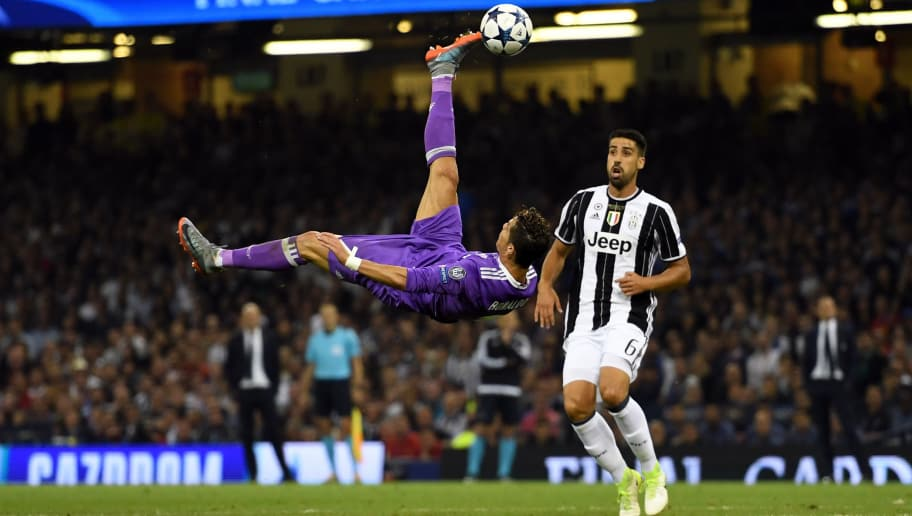 CARDIFF, WALES - JUNE 03:  Cristiano Ronaldo of Real Madrid attempts an overhead kick during the UEFA Champions League Final between Juventus and Real Madrid at National Stadium of Wales on June 3, 2017 in Cardiff, Wales.  (Photo by Shaun Botterill/Getty Images)