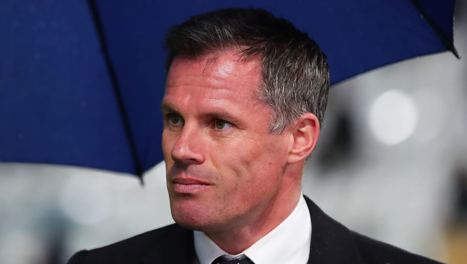 TURIN, ITALY - APRIL 03: Jamie Carragher speaks to the media ahead of the UEFA Champions League Quarter Final, first Leg match between Juventus and Real Madrid at Juventus Stadium on April 3, 2018 in Turin, Italy. (Photo by Chris Brunskill Ltd/Getty Images)
