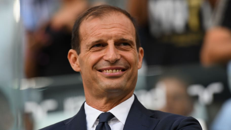 TURIN, ITALY - AUGUST 25:  Massimiliano Allegri head coach of Juventus looks on before the serie A match between Juventus and SS Lazio on August 25, 2018 in Turin, Italy.  (Photo by Alessandro Sabattini/Getty Images)
