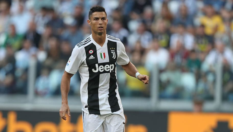 TURIN, ITALY - SEPTEMBER 29: Cristiano Ronaldo of Juventus reacts during the Srie A match between Juventus and SSC Napoli  at Allianz Stadium on September 29, 2018 in Turin, Italy.  (Photo by Gabriele Maltinti/Getty Images )