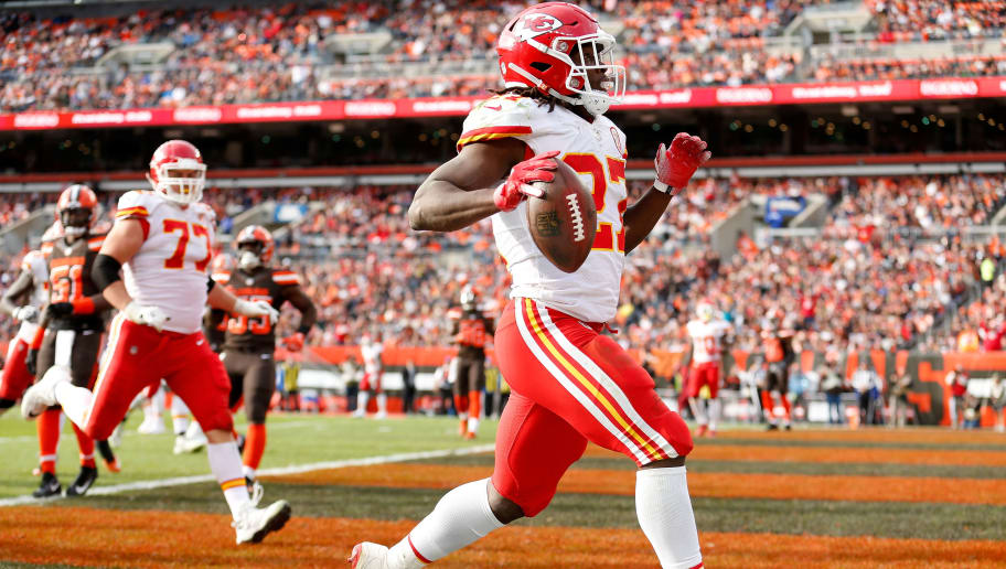 CLEVELAND, OH - NOVEMBER 4:  Kareem Hunt #27 of the Kansas City Chiefs runs for a touchdown during the game against the Cleveland Browns at FirstEnergy Stadium on November 4, 2018 in Cleveland, Ohio. (Photo by Kirk Irwin/Getty Images)