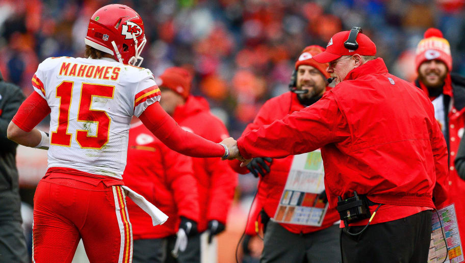 DENVER, CO - DECEMBER 31:  Head coach Andy Reid of the Kansas City Chiefs celebrates with quarterback Patrick Mahomes #15 after the Kansas City Chiefs offense scored a touchdown against the Denver Broncosat Sports Authority Field at Mile High on December 31, 2017 in Denver, Colorado. (Photo by Dustin Bradford/Getty Images)
