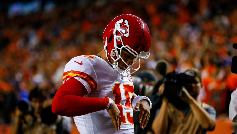 DENVER, CO - OCTOBER 1:  Quarterback Patrick Mahomes #15 of the Kansas City Chiefs celebrates after his second-quarter rushing touchdown, the first of his NFL career, against the Denver Broncos at Broncos Stadium at Mile High on October 1, 2018 in Denver, Colorado. (Photo by Justin Edmonds/Getty Images)