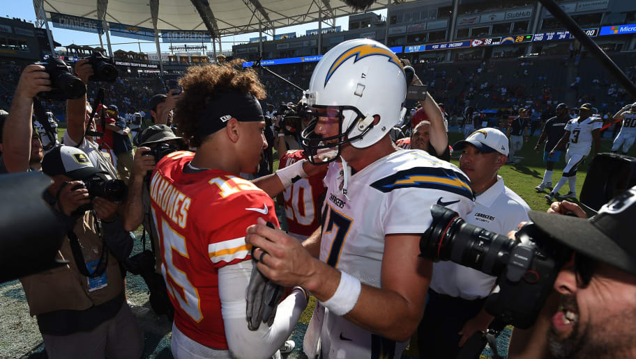 CARSON, CA - SEPTEMBER 09: Quarterbacks Patrick Mahomes #15 of the Kansas City Chiefs and Philip Rivers #17 of the Los Angeles Chargers shake hands after the game at StubHub Center on September 9, 2018 in Carson, California. (Photo by Kevork Djansezian/Getty Images)