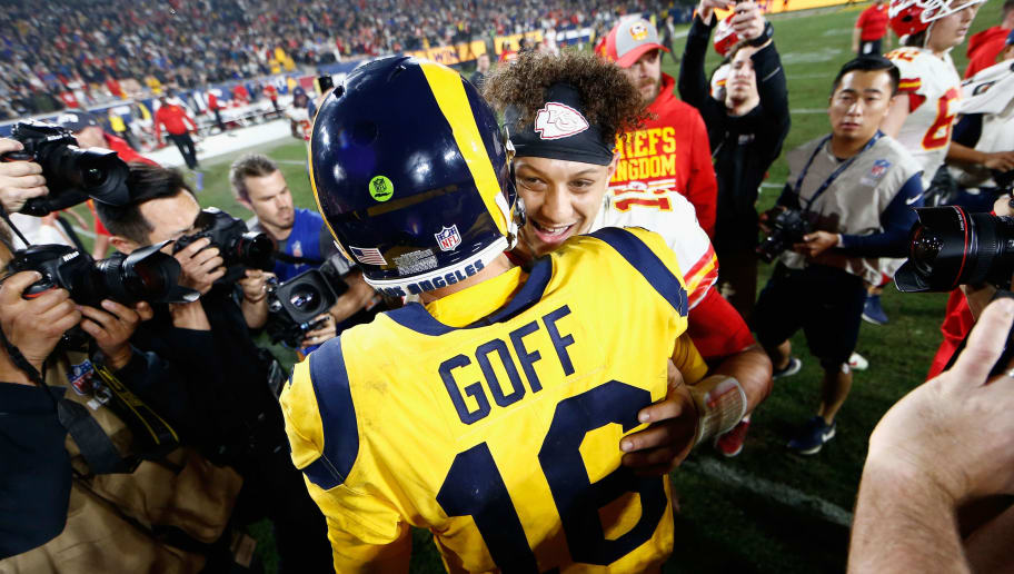 LOS ANGELES, CA - NOVEMBER 19:  Jared Goff #16 of the Los Angeles Rams hugs Patrick Mahomes #15 of the Kansas City Chiefs after a game at Los Angeles Memorial Coliseum on November 19, 2018 in Los Angeles, California.  The Los Angeles Rams defeated the Kansas City Chiefs 54-51.   (Photo by Sean M. Haffey/Getty Images)