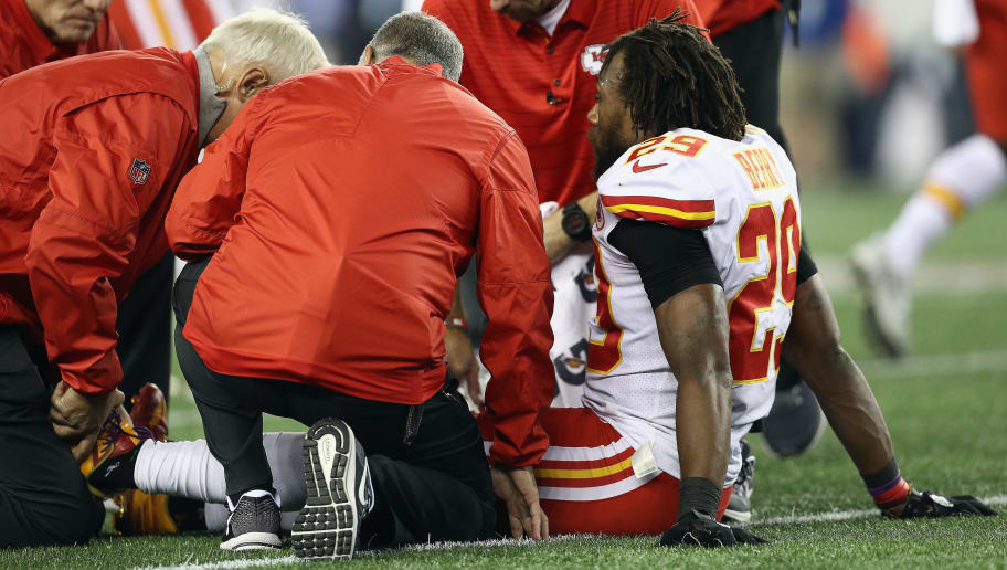 FOXBORO, MA - SEPTEMBER 07:  Eric Berry #29 of the Kansas City Chiefs is helped by training staff after sustaining an injury during the second half against the New England Patriots at Gillette Stadium on September 7, 2017 in Foxboro, Massachusetts.  (Photo by Maddie Meyer/Getty Images)