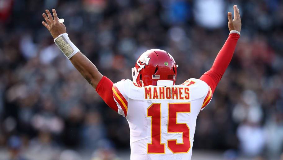OAKLAND, CA - DECEMBER 02: Patrick Mahomes #15 of the Kansas City Chiefs celebrates after a touchdown by Spencer Ware #32 against the Oakland Raiders during their NFL game at Oakland-Alameda County Coliseum on December 2, 2018 in Oakland, California. (Photo by Ezra Shaw/Getty Images)