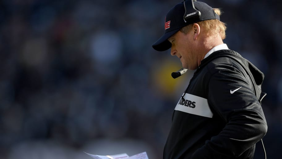 OAKLAND, CA - DECEMBER 02:  Head coach Jon Gruden of the Oakland Raiders looks on from the sidelines against the Kansas City Chiefs during the first half of their NFL football game at Oakland-Alameda County Coliseum on December 2, 2018 in Oakland, California.  (Photo by Thearon W. Henderson/Getty Images)