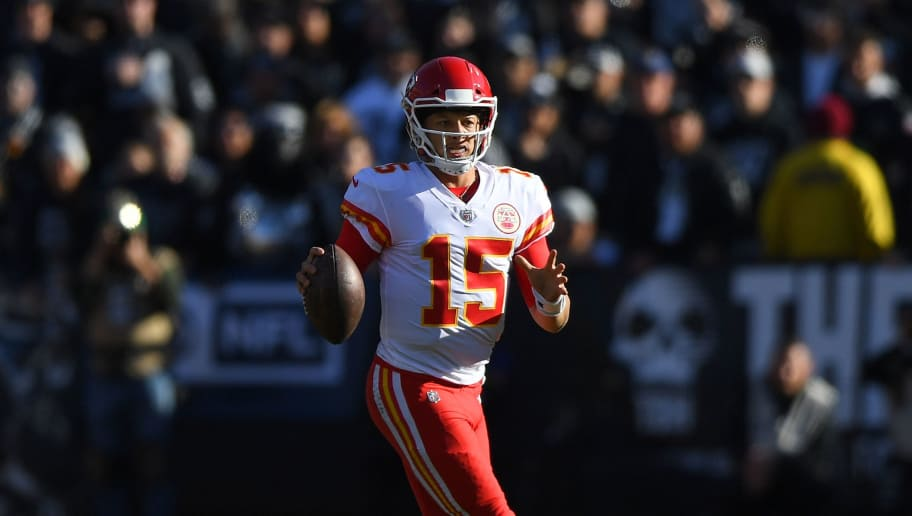 OAKLAND, CA - DECEMBER 02:  Patrick Mahomes #15 of the Kansas City Chiefs looks to pass against the Oakland Raiders during the first half of an NFL football game at Oakland-Alameda County Coliseum on December 2, 2018 in Oakland, California.  (Photo by Thearon W. Henderson/Getty Images)