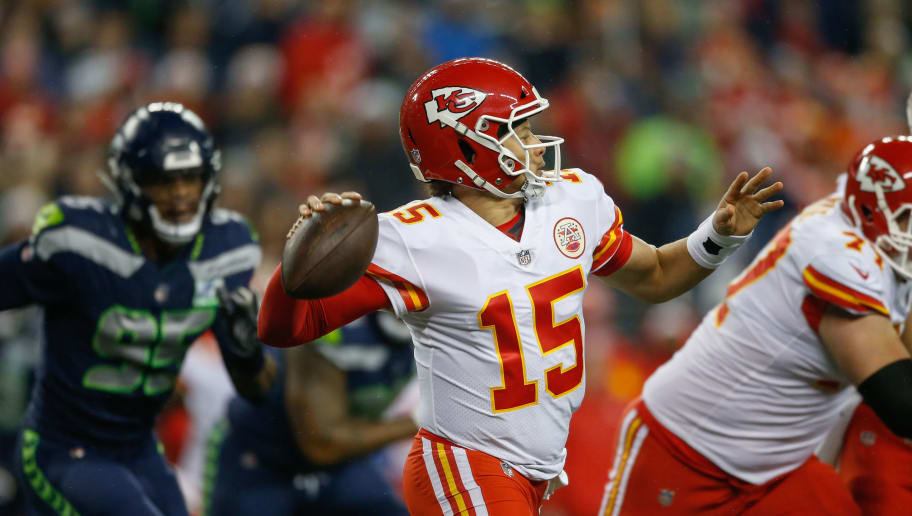 SEATTLE, WA - DECEMBER 23:  Quarterback Patrick Mahomes #15 of the Kansas City Chiefs in action against the Seattle Seahawks at CenturyLink Field on December 23, 2018 in Seattle, Washington.  (Photo by Otto Greule Jr/Getty Images)