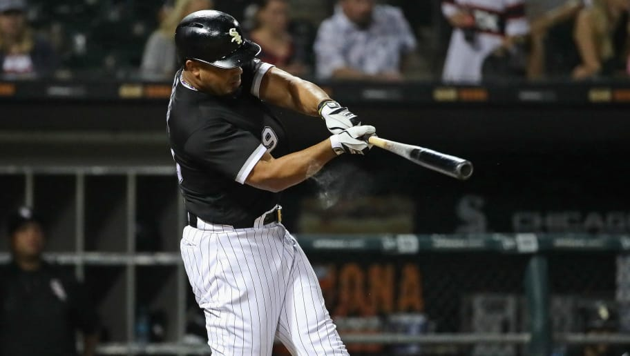CHICAGO, IL - AUGUST 17:  Jose Abreu #79 of the Chicago White Sox hits a three run home runin the 7th inning against the Kansas City Royals at Guaranteed Rate Field on August 17, 2018 in Chicago, Illinois.  (Photo by Jonathan Daniel/Getty Images)