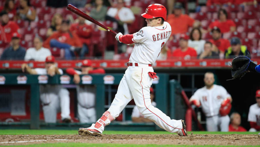 CINCINNATI, OH - SEPTEMBER 25:  Scooter Gennett #3 of the Cincinnati Reds hits a tripple in the 7th inning against the Kansas City Royals at Great American Ball Park on September 25, 2018 in Cincinnati, Ohio.  (Photo by Andy Lyons/Getty Images)