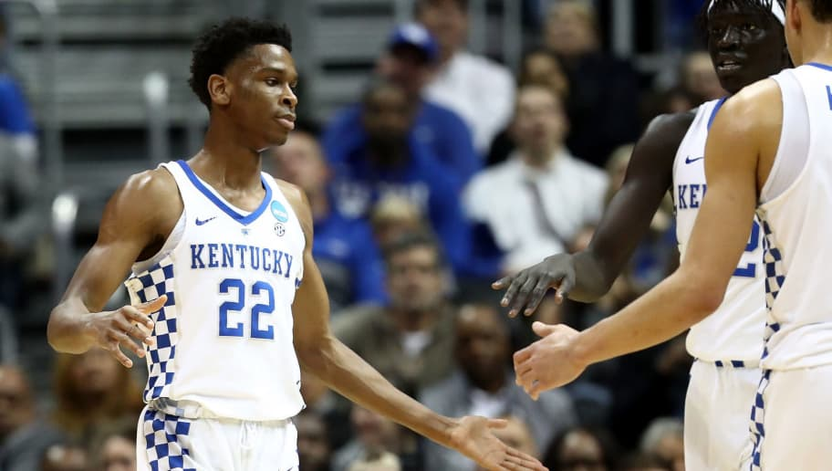 ATLANTA, GA - MARCH 22: Shai Gilgeous-Alexander #22 of the Kentucky Wildcats reacts after a play in the first half against the Kansas State Wildcats during the 2018 NCAA Men's Basketball Tournament South Regional at Philips Arena on March 22, 2018 in Atlanta, Georgia.  (Photo by Ronald Martinez/Getty Images)
