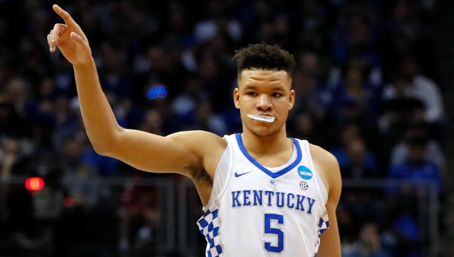 ATLANTA, GA - MARCH 22:  Kevin Knox #5 of the Kentucky Wildcats reacts against the Kansas State Wildcats in the first half during the 2018 NCAA Men's Basketball Tournament South Regional at Philips Arena on March 22, 2018 in Atlanta, Georgia.  (Photo by Kevin C. Cox/Getty Images)
