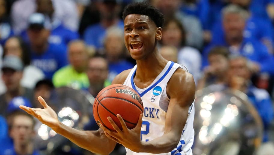 ATLANTA, GA - MARCH 22: Shai Gilgeous-Alexander #22 of the Kentucky Wildcats reacts to a call in the second half against the Kansas State Wildcats during the 2018 NCAA Men's Basketball Tournament South Regional at Philips Arena on March 22, 2018 in Atlanta, Georgia.  (Photo by Kevin C. Cox/Getty Images)