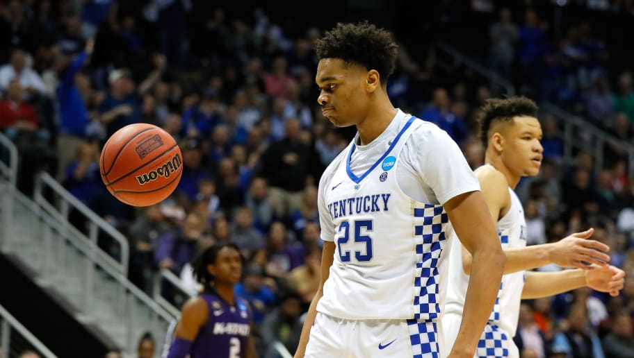 ATLANTA, GA - MARCH 22: PJ Washington #25 of the Kentucky Wildcats reacts after a play in the second half against the Kansas State Wildcats during the 2018 NCAA Men's Basketball Tournament South Regional at Philips Arena on March 22, 2018 in Atlanta, Georgia.  (Photo by Kevin C. Cox/Getty Images)