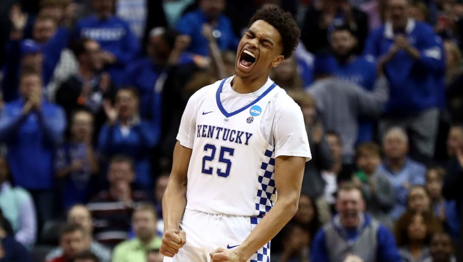 ATLANTA, GA - MARCH 22:  PJ Washington #25 of the Kentucky Wildcats reacts after a play in the second half against the Kansas State Wildcats during the 2018 NCAA Men's Basketball Tournament South Regional at Philips Arena on March 22, 2018 in Atlanta, Georgia.  (Photo by Ronald Martinez/Getty Images)