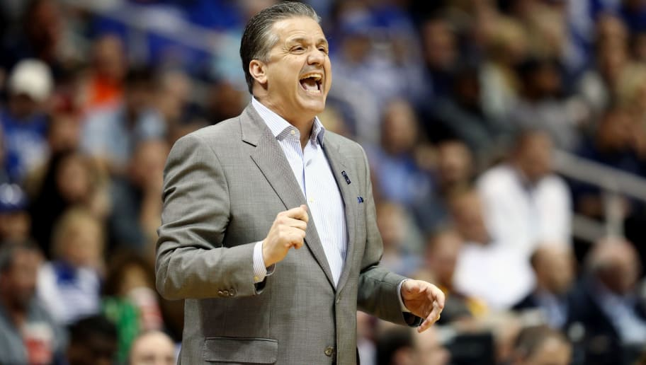 ATLANTA, GA - MARCH 22:  Head coach John Calipari of the Kentucky Wildcats reacts against the Kansas State Wildcats in the first half during the 2018 NCAA Men's Basketball Tournament South Regional at Philips Arena on March 22, 2018 in Atlanta, Georgia.  (Photo by Ronald Martinez/Getty Images)