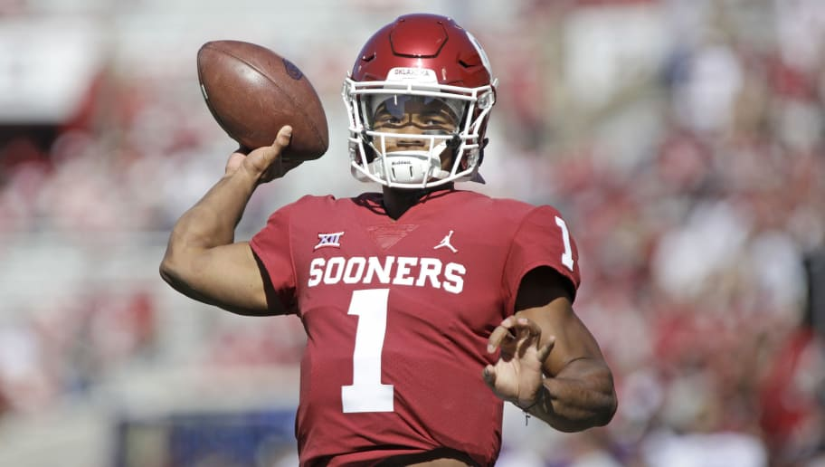 NORMAN, OK - OCTOBER 27: Quarterback Kyler Murray #1 of the Oklahoma Sooners warms up before the game against the Kansas State Wildcats at Gaylord Family Oklahoma Memorial Stadium on October 27, 2018 in Norman, Oklahoma. Oklahoma defeated Kansas State 51-14. (Photo by Brett Deering/Getty Images)