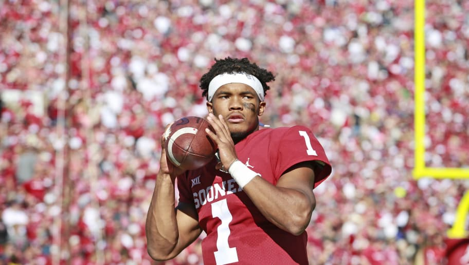 NORMAN, OK - OCTOBER 27: Quarterback Kyler Murray #1 of the Oklahoma Sooners warms up on the sidelines during the game against the Kansas State Wildcats at Gaylord Family Oklahoma Memorial Stadium on October 27, 2018 in Norman, Oklahoma. Oklahoma defeated Kansas State 51-14. (Photo by Brett Deering/Getty Images)