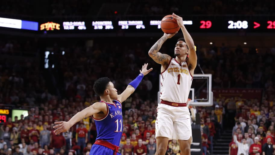 AMES, IA - JANUARY 5: Nick Weiler-Babb #1 of the Iowa State Cyclones takes a shot as Devon Dotson #11 of the Kansas Jayhawks blocks in the first half of play at Hilton Coliseum on January 5, 2019 in Ames, Iowa. (Photo by David Purdy/Getty Images)