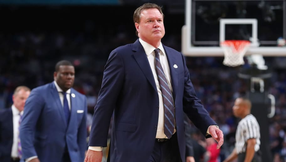 SAN ANTONIO, TX - MARCH 31:  head coach Bill Self of the Kansas Jayhawks looks on in the first half against the Villanova Wildcats during the 2018 NCAA Men's Final Four Semifinal at the Alamodome on March 31, 2018 in San Antonio, Texas.  (Photo by Tom Pennington/Getty Images)