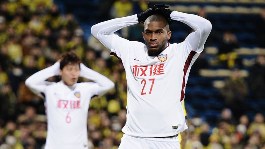 KASHIWA, JAPAN - FEBRUARY 20:  Anthony Modeste of Tianjin Quanjian reacts after missing a chance during the AFC Champions League match between Kashiwa Reysol and Tianjin Quanjian at Sankyo Frontier Kashiwa Stadium on February 20, 2018 in Kashiwa, Chiba, Japan.  (Photo by Matt Roberts/Getty Images)