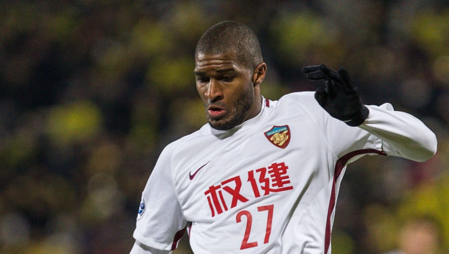 KASHIWA, JAPAN - FEBRUARY 20:  Anthony Modeste #27 of Tianjin Quanjian in action during the AFC Champions League match between Kasshiwa Reysol and Tianjin Quanjian at Sankyo Frontier Kashiwa Stadium on February 20, 2018 in Kashiwa, Chiba, Japan.  (Photo by Yifan Ding/Getty Images)