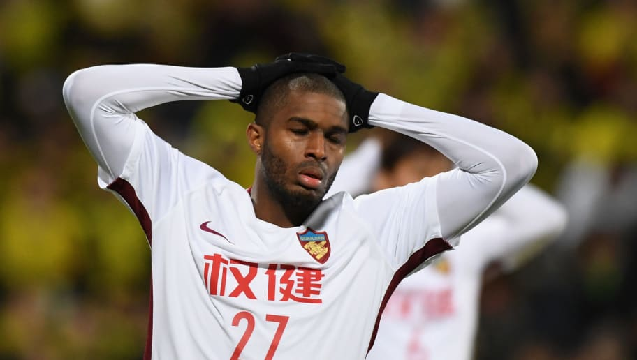 KASHIWA, JAPAN - FEBRUARY 20:  Anthony Modeste of Tianjin Quanjian reacts after missing a chance during the AFC Champions League match between Kashiwa Reysol and Tianjin Quanjian at Sankyo Frontier Kashiwa Stadium on February 20, 2018 in Kashiwa, Chiba, Japan.  (Photo by Masashi Hara/Getty Images)