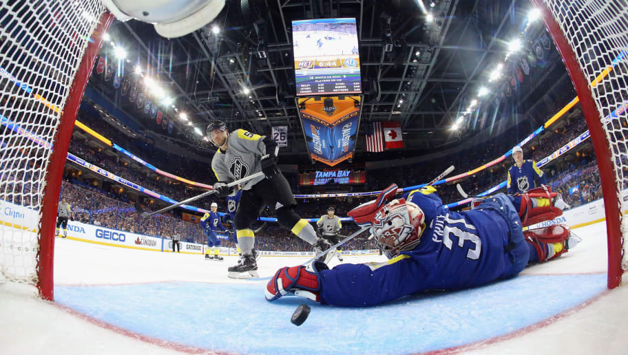 TAMPA, FL - JANUARY 28: Kris Letang #58 of the Pittsburgh Penguins scores on Carey Price #31 of the Montreal Canadiens during the 2018 Honda NHL All-Star Game between the Atlantic Division and the Metropolitan Divison at Amalie Arena on January 28, 2018 in Tampa, Florida.  (Photo by Bruce Bennett/Getty Images)