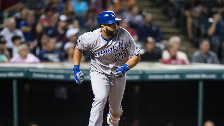 CLEVELAND, OH - SEPTEMBER 20: Kendrys Morales #25 of the Kansas City Royals runs to first during the ninth inning against the Cleveland Indians at Progressive Field on September 20, 2016 in Cleveland, Ohio. The Indians defeated the Royals 2-1. (Photo by Jason Miller/Getty Images)