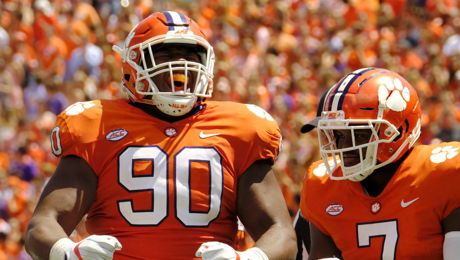 CLEMSON, SC - SEPTEMBER 2: Defensive tackle Dexter Lawrence #90 of the Clemson Tigers #90 celebrates a tackle against the Kent State Golden Flashes on September 2, 2017 at Memorial Stadium in Clemson, South Carolina. (Photo by Todd Bennett/Getty Images)