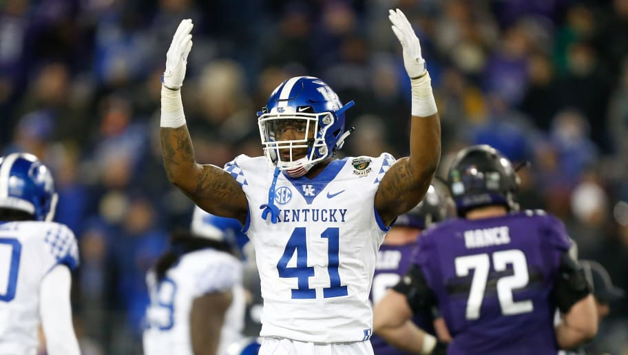 NASHVILLE, TN - DECEMBER 29:  Josh Allen #41 of the Kentucky Wildcats reacts against the Northwestern Wildcats during the Music City Bowl at Nissan Stadium on December 29, 2017 in Nashville, Tennessee.  (Photo by Michael Reaves/Getty Images)