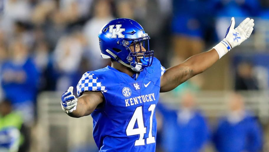 LEXINGTON, KY - SEPTEMBER 22:  Josh Allen #41 of the Kentucky Wildcats celebrates during the 28-7 win over the Mississippi State Bulldogs at Commonwealth Stadium on September 22, 2018 in Lexington, Kentucky.  (Photo by Andy Lyons/Getty Images)