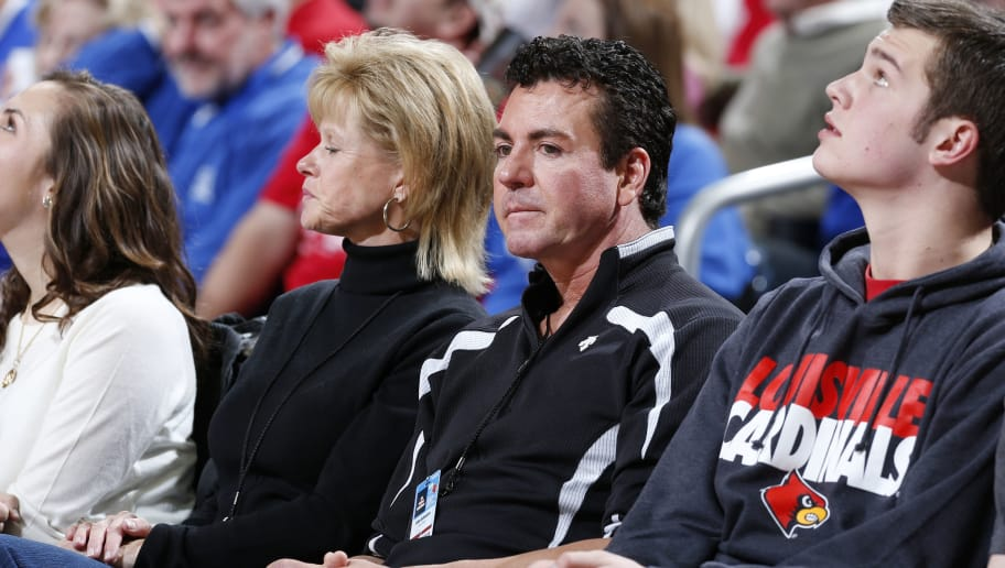 LOUISVILLE, KY - DECEMBER 29: Louisville Cardinals fan and Papa John's pizza founder and CEO John Schnatter looks on during the game against the Kentucky Wildcats at KFC Yum! Center on December 29, 2012 in Louisville, Kentucky. Louisville won 80-77. (Photo by Joe Robbins/Getty Images)
