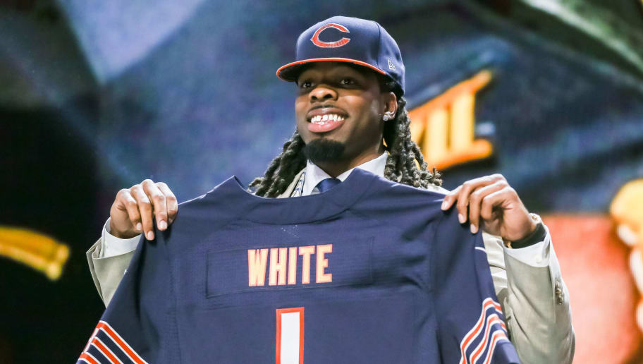 CHICAGO, IL - APRIL 30:  Kevin White of the West Virginia Mountaineers holds up a jersey after being chosen #7 overall by the Chicago Bears during the first round of the 2015 NFL Draft at the Auditorium Theatre of Roosevelt University on April 30, 2015 in Chicago, Illinois.  (Photo by Jonathan Daniel/Getty Images)